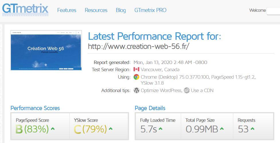 Analyse de la vitesse de Création web 56 (Auray)